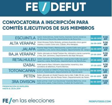 FEDEFUT / CONVOCATORIA A INSCRIPCIÓN PARA COMITÉS EJECUTIVOS DE SUS MIEMBROS