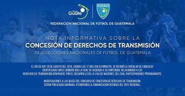 NOTA INFORMATIVA FEDEFUT / Concesión de Derechos de Transmisión