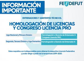 INFORMACIÓN IMPORTANTE PARA ENTRENADORES Y ASISTENTES TÉCNICOS PARA DIRIGIR EN LA TEMPORADA 2019-2020